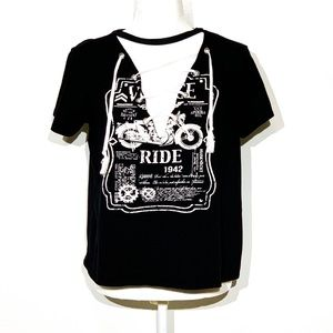 American Rebel Lace Up Black Motorcycle Tee Sz L